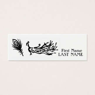 Peacock & feather monochrome mini business card