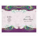 Peacock Feather n Swirls -  Formal Wedding Program Full Colour Flyer