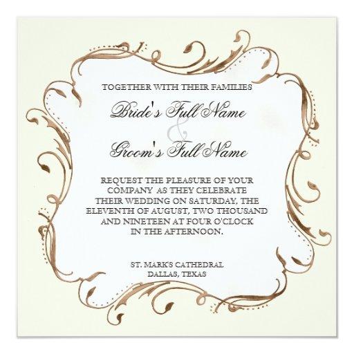 Peacock Feather n Swirls - Wedding Invitation