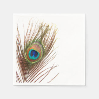 Peacock Feather Napkins Disposable Serviette