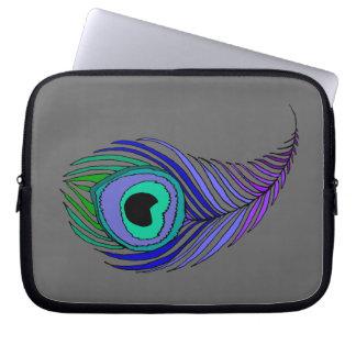 "Peacock Feather Neoprene Laptop Sleeve 10"""