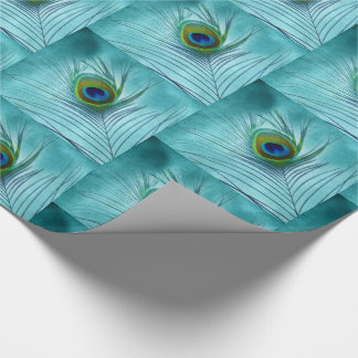 Peacock Feather on Blue with 3D Look Wrapping Paper