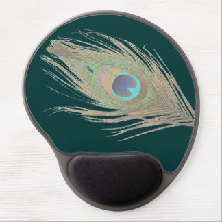 Peacock Feather on Dark Teal Gel Mouse Pad