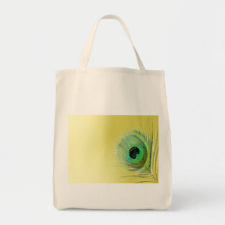 Peacock Feather on Gold Grocery Tote Bag