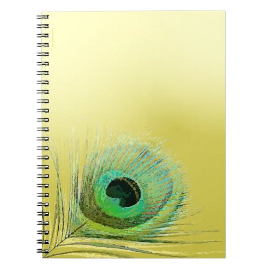 Peacock Feather on Gold Notebook