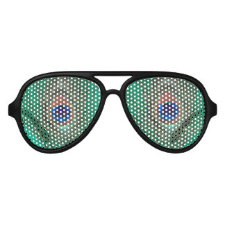 Peacock Feather on Green Aviator Sunglasses