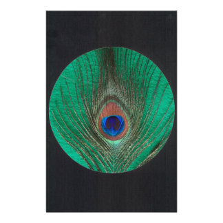 Peacock Feather on Green Black Circle Frame Customized Stationery