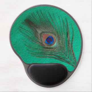 Peacock Feather on Green Gel Mouse Mat