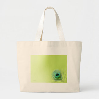 Peacock Feather on Green Jumbo Tote Bag