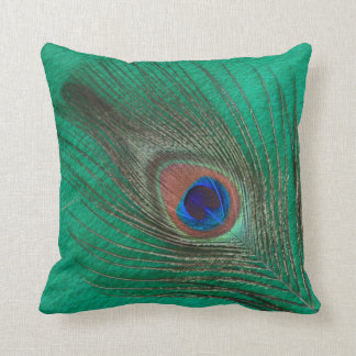 Peacock Feather on Green Throw Pillow
