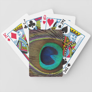 Peacock Feather On Left Side Close-Up Bicycle Playing Cards