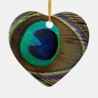 Peacock Feather On Right Side Close-Up Ceramic Heart Decoration