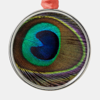 Peacock Feather On Right Side Close-Up Christmas Ornament