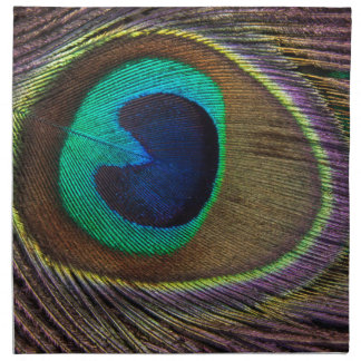 Peacock Feather On Right Side Close-Up Napkin