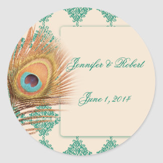 Peacock Feather on Teal Moroccan Envelope Seal Round Sticker