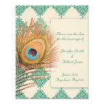 Peacock Feather on Teal Moroccan Tile 11 Cm X 14 Cm Invitation Card