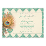 Peacock Feather on Teal Moroccan Tile Invitation 13 Cm X 18 Cm Invitation Card