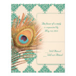 Peacock Feather on Teal Moroccan Tile Custom Invite