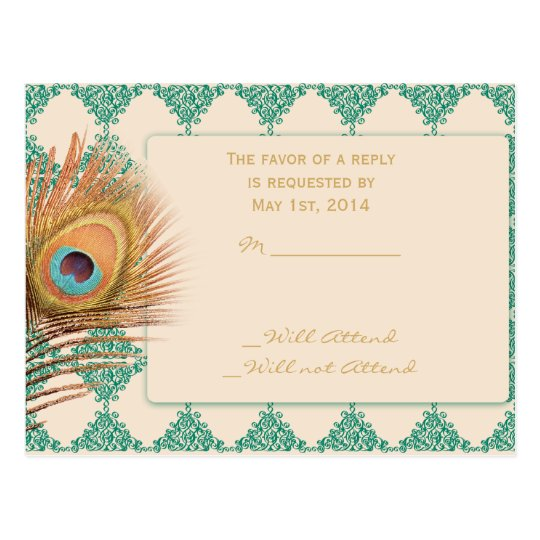 Peacock Feather on Teal Moroccan Tile Postcard