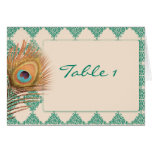 Peacock Feather on Teal Moroccan Tile Table Number