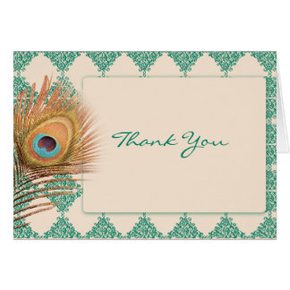 Peacock Feather on Teal Moroccan Tile Thank You Card