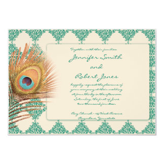 Peacock Feather on Teal Tile Wedding Invitation