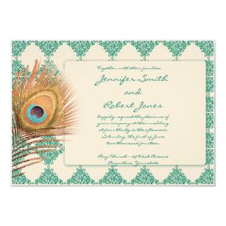 Peacock Feather on Teal Tile Wedding Invitation