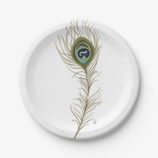 Peacock Feather Paper Plate