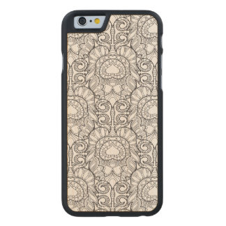 Peacock Feather Pattern Doodle Carved® Maple iPhone 6 Slim Case