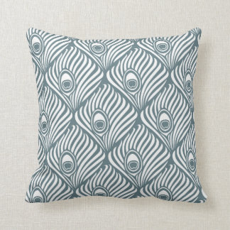 Peacock Feather Pattern in Blue Grey and White Cushion