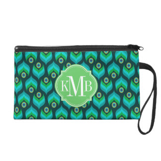 Peacock Feather Pattern Monogram Personalized Wristlet
