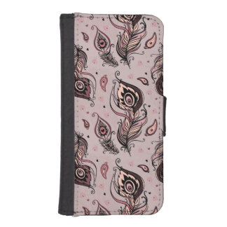 Peacock feather pattern phone wallet case