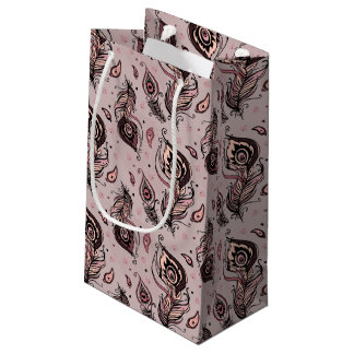 Peacock feather pattern small gift bag