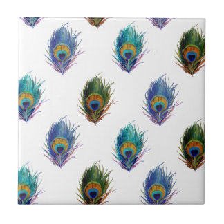 Peacock feather pattern small square tile