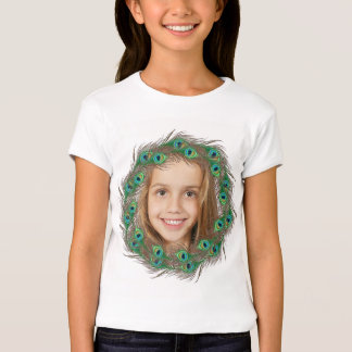 Peacock feather photo kids template t-shirts