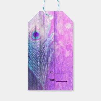 Peacock Feather Pink & Blue Boho Chic Party Favor Gift Tags