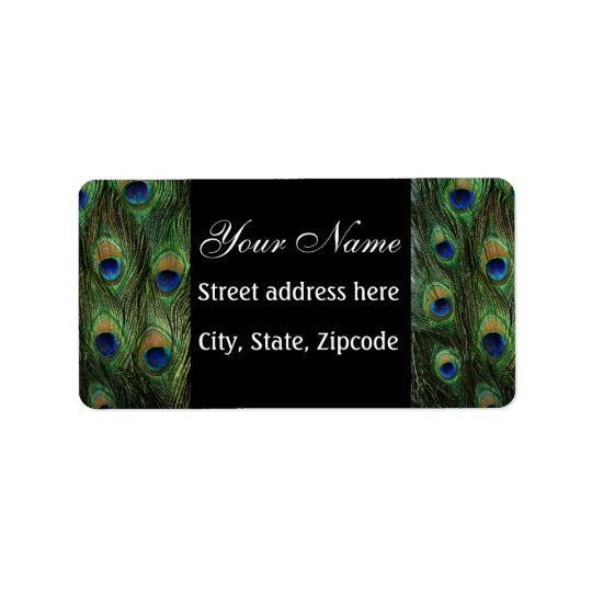 Peacock Feather Print Address Label