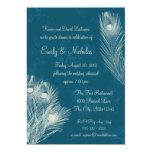 """Peacock Feather Rehearsal Dinner 5"""" X 7"""" Invitation Card"""