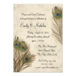 Peacock Feather Rehearsal Dinner 5x7 Paper Invitation Card