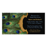 Peacock Feather Rehearsal Dinner Invitation Personalised Photo Card