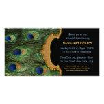 Peacock Feather Rehearsal Dinner Invitation Photo Card Template