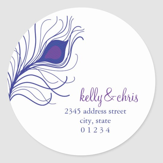 Peacock Feather Return Address labels Round Sticker