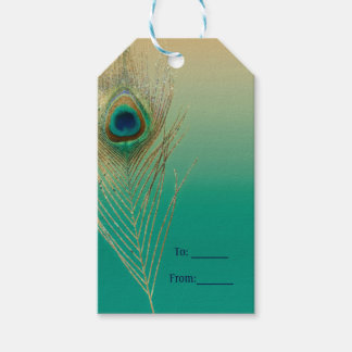 Peacock Feather Sand and Teal Boho Glam Favor Gift Tags