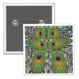 Peacock Feather Show 15 Cm Square Badge