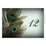 Peacock Feather Table Numbers Stationery Note Card