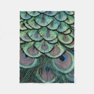 Peacock Feather Tail Eyes Fleece Blanket