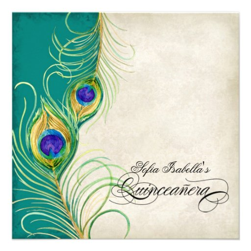 Peacock Feather Teal Blue Damask Quinceanera Party Announcements
