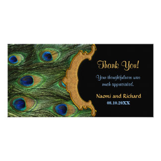Peacock Feather Thank You Picture Card