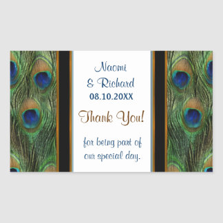 Peacock Feather Thank You Seal - Customize Rectangle Sticker