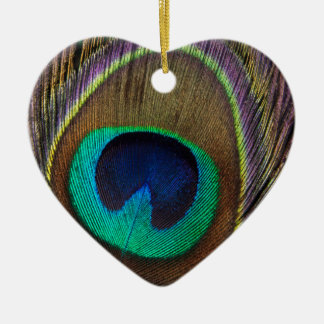 Peacock Feather Upright Close-Up Ceramic Heart Decoration
